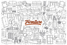 Hand Drawn Furniture Doodle Set Background With Red Lettering In Vector