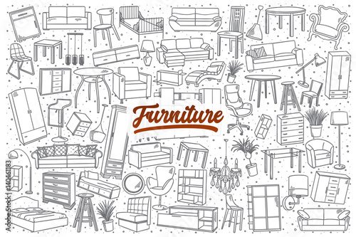 Fotografie, Obraz  Hand drawn furniture doodle set background with red lettering in vector