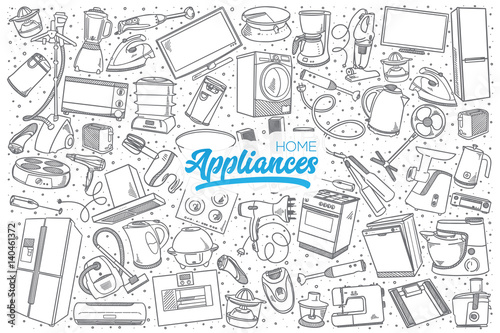 Photo Hand drawn home appliances doodle set background with blue lettering in vector