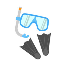 Snorkel, Flippers And Mask Iso...