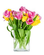 Bouquet Of Fresh Tulips In Vas...