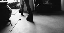 American Girl Rocker High Heels And Black Leather Jackets. Film Texture & Unfocused