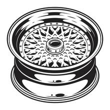 Isolated Monochrome Illustration Of Car Wheel Rim On White Background