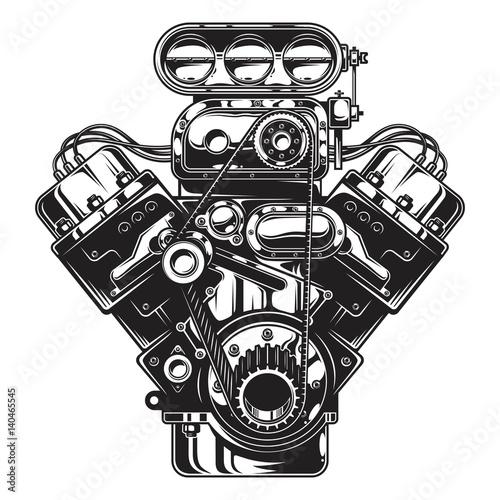 Fotografija Isolated monochrome illustration of car engine on white background