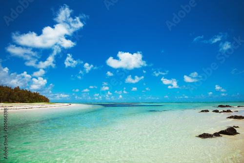 Fotografía  Landscape of sandy tropical beach with wild green forest.