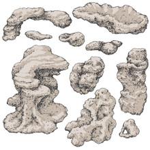 Underwater Rocks Set On White