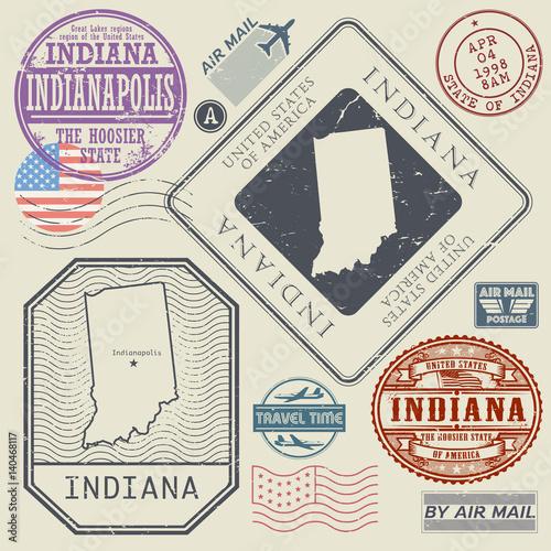 Retro vintage postage stamps set Indiana, United States