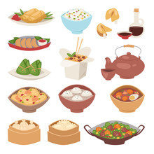 Chinese Traditional Food Steamed Dumpling Asian Delicious Cuisine Healthy Dinner Meal And Gourmet China Lunch Breakfast Cooked Vector Illustration