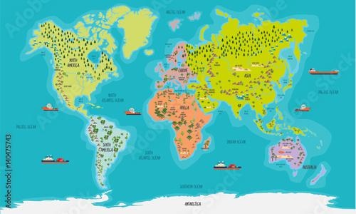 In de dag Wereldkaart world map vector illustration
