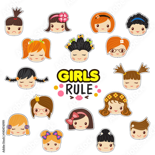 Photo  The set of vector illustrations of kids faces with the girls rule text