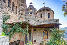 Entrance To Ancient Church Of Saint John The Baptist. This Is A Rare Old Architectural Point In Vicinity Of Jerusalem And One Of The Public Domains And Catholic Pilgrims Places In Israel