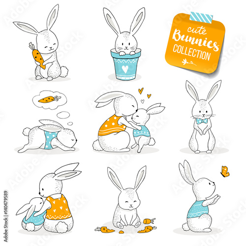 Cute little bunnies set. Hand drawn cartoon style, hand drawn illustration