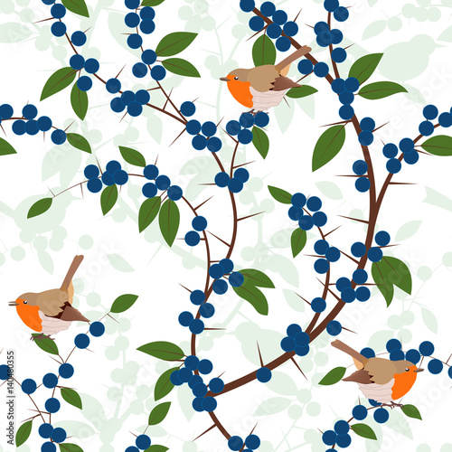 Valokuva  Seamless pattern of Blackthorn berries and robin birds
