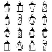 Set Of Lantern Icons, Vector Illustration