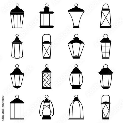 Photo Set of lantern icons, vector illustration