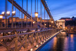 The Chain bridge (Szechenyi lanchid), stunning engineering design in twilight blue sky evening with Castle on background and city lights