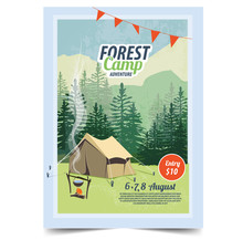 Camping Poster, Flyer, Flat Vector Illustration