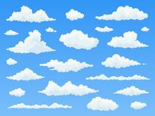 Cartoon Cloud Set. White Cloud...