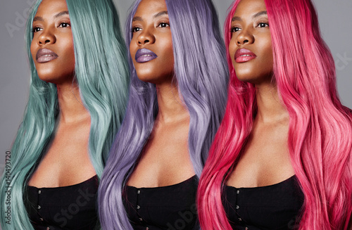 the same woman's portrait with different hair color. creative hair color concept