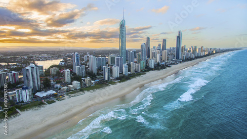 Vászonkép  Aerial view of sunset over Surfers Paradise and beach