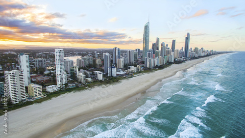 Aerial view of sunset over Surfers Paradise and beach. Gold Coast Australia © David Bostock