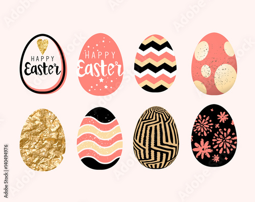 Photo  A collection of easter egg decoration and designs