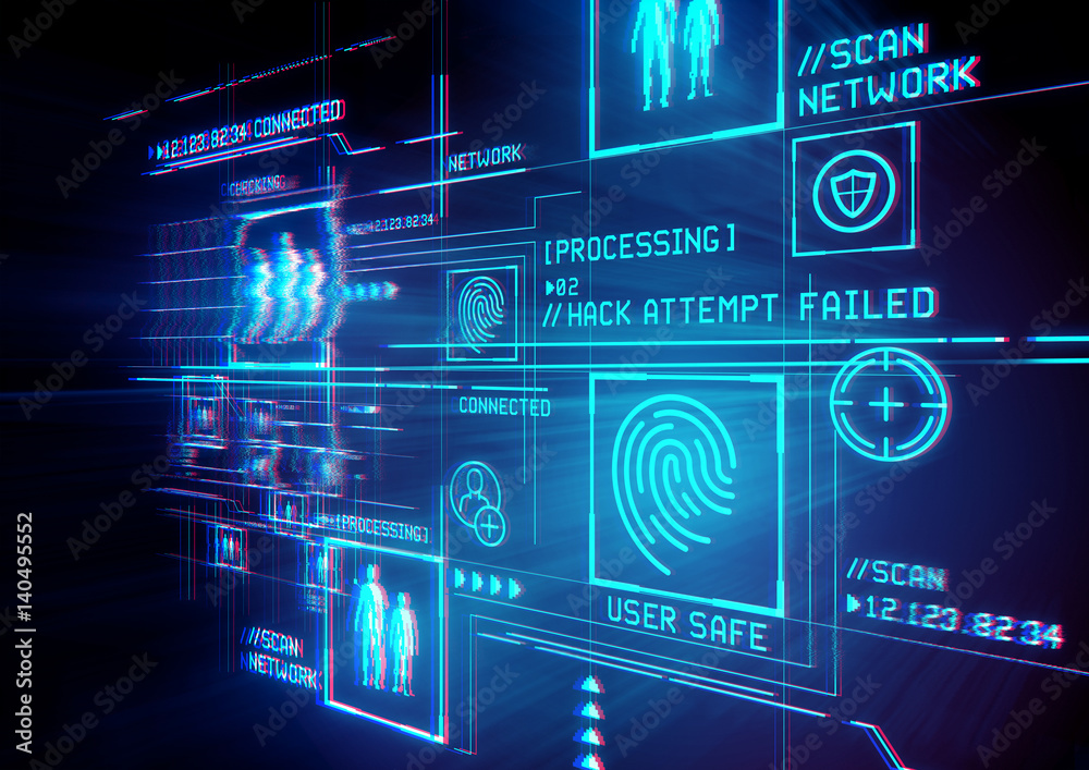 Fototapeta Digital Security and data protection. Conceptual illustration with advanced technology digital display.