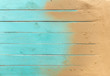 Leinwandbild Motiv Sea sand on blue wooden floor,Top view with copy space