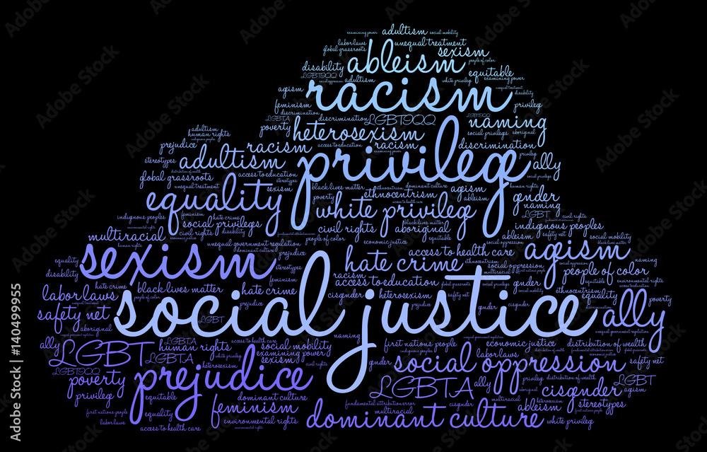 Chmura Słowa Sprawiedliwości Społecznej Na Czarnym Tle