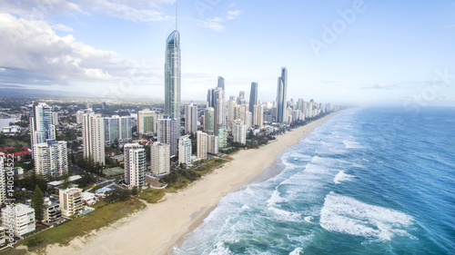 Fényképezés  Aerial view of Gold Coast Surfers Paradise beach and coastline