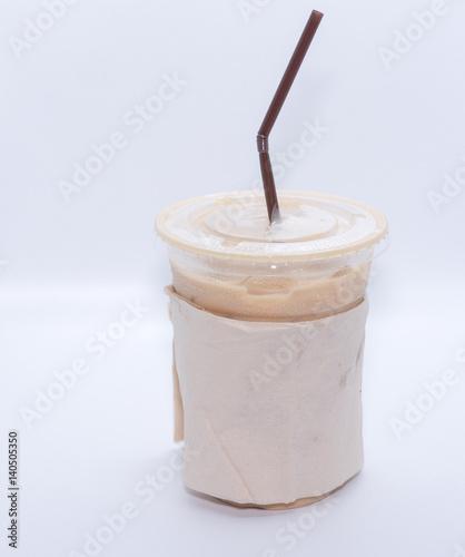 Keuken foto achterwand Milkshake Iced coffee with straw in plastic cup on white background