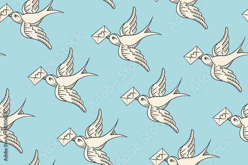 Keuken foto achterwand Vlinders in Grunge Seamless pattern with old school vintage bird and postal envelope with heart in engraving style on blue background. Hand drawn design for wrapping paper, fabric background. Vector illustration
