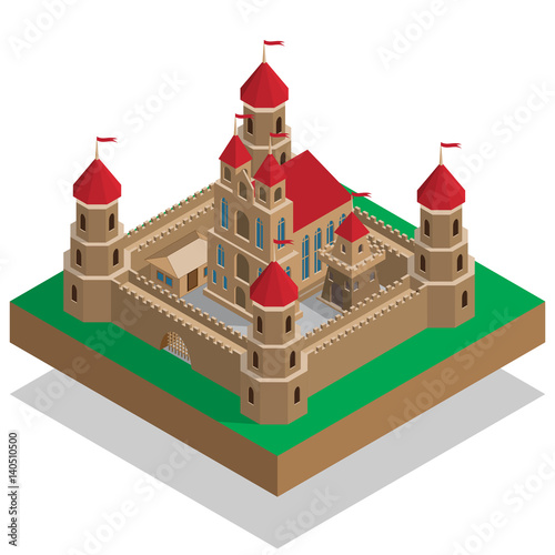 Photo  Old castle. Isometric. Vector illustration.
