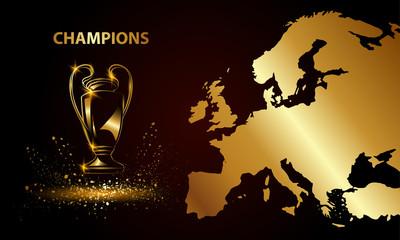 Puchar Mistrzów z mapą. Złote trofeum piłkarskie.