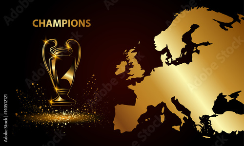 Photo Champions Cup with a map. Golden Soccer trophy.