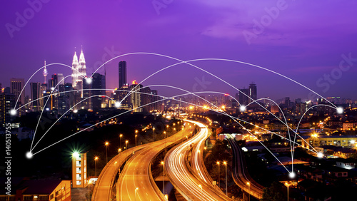Poster Prune Kuala Lumpur cityscape and network connection concept.