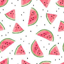 Seamless Watermelons Pattern. ...