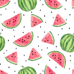 FototapetaWatercolor watermelons pattern. Seamless vector background.