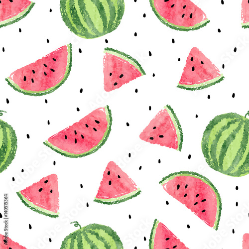 fototapeta na drzwi i meble Watercolor watermelons pattern. Seamless vector background.