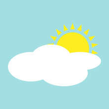 Simple Flat Sun Behind Cloud Illustration, Blue Background