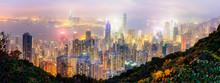 Panorama View Of Hongkong From The Peak