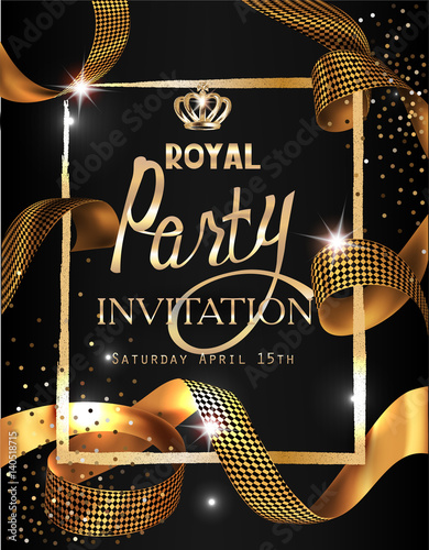 Fotografía  Royal party invitation card with gold curly ribbon, textured frame and crown