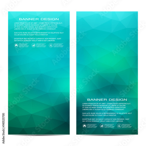 Foto op Aluminium Groene koraal Set of modern vertical banners with triangles. Geometric abstract background. Business and website templates. Vector illustration