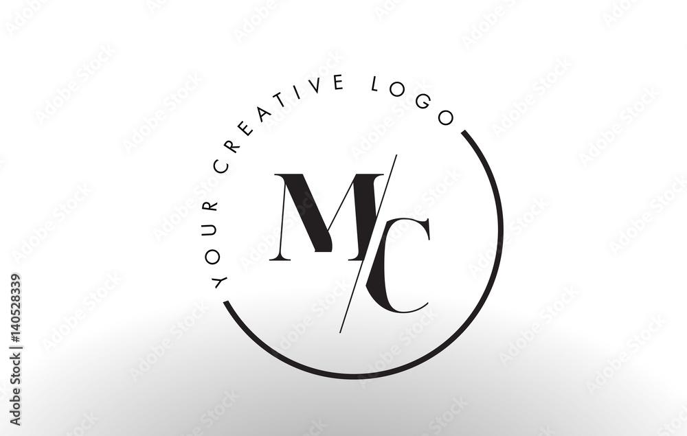 Fototapeta MC Serif Letter Logo Design with Creative Intersected Cut.
