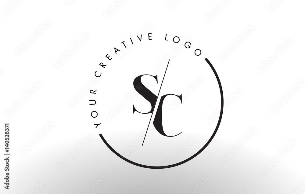 Photo Art Print Sc Serif Letter Logo Design With Creative