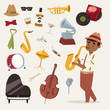 Fashion jazz band music party symbols art performance and musical instrument man character sound concert acoustic blues bass design vector illustration.