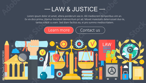 Fotografie, Obraz  Law and justice design concept with justice icons infographics template design, web header elements, poster banner