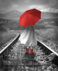 Panel Szklany Romantyczny Girl with a red umbrella on the tracks. Lost teddy bear. Digital illustration with soft oil painting style.
