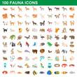 100 fauna icons set, cartoon style