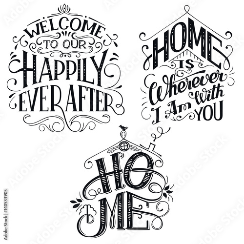 Home Decor Quotes Signs Set Isolated On White Background Hand